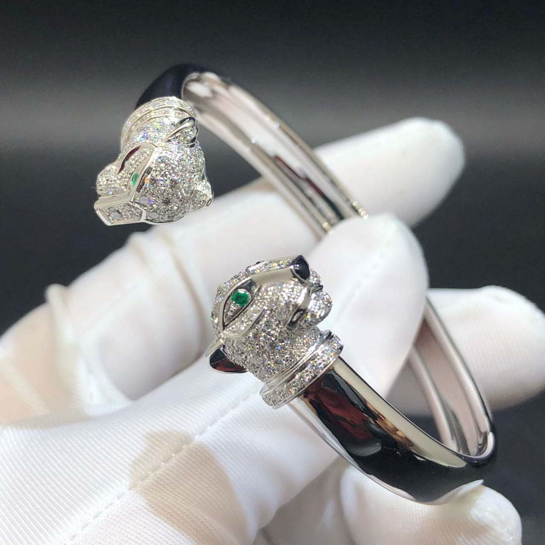 Panthère de Cartier Bracelet Double Panthere Heads 18K White Gold set with 194 Diamonds, Emeralds and Onyx N6706217