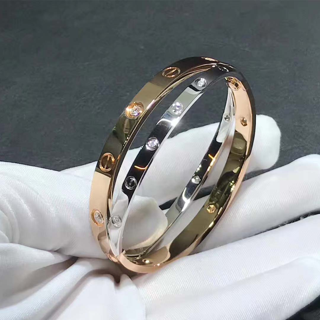 Custom Made 18k Rose Gold and White Gold with 12 Diamond Cartier Love Bracelet N6039117