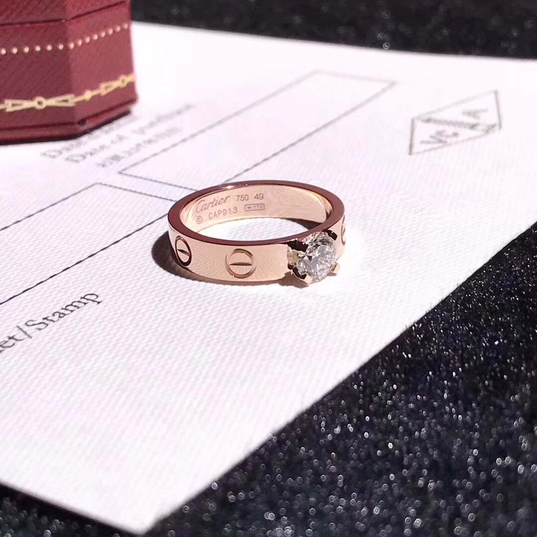 Custom Made 18K Pink Gold Cartier Love Solitaire Diamond Ring N4250100