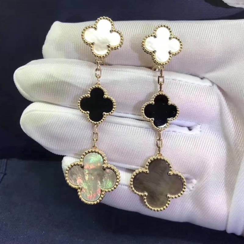VCA 3 Motifs Magic Alhambra Earrings 18K Yellow Gold White and Gray Mother-of-pearl, Onyx VCARD79000