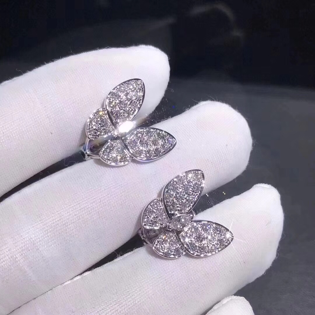 Van Cleef & Arpels 18K White Gold Diamond Paved Two Butterfly Earrings VCARB82900