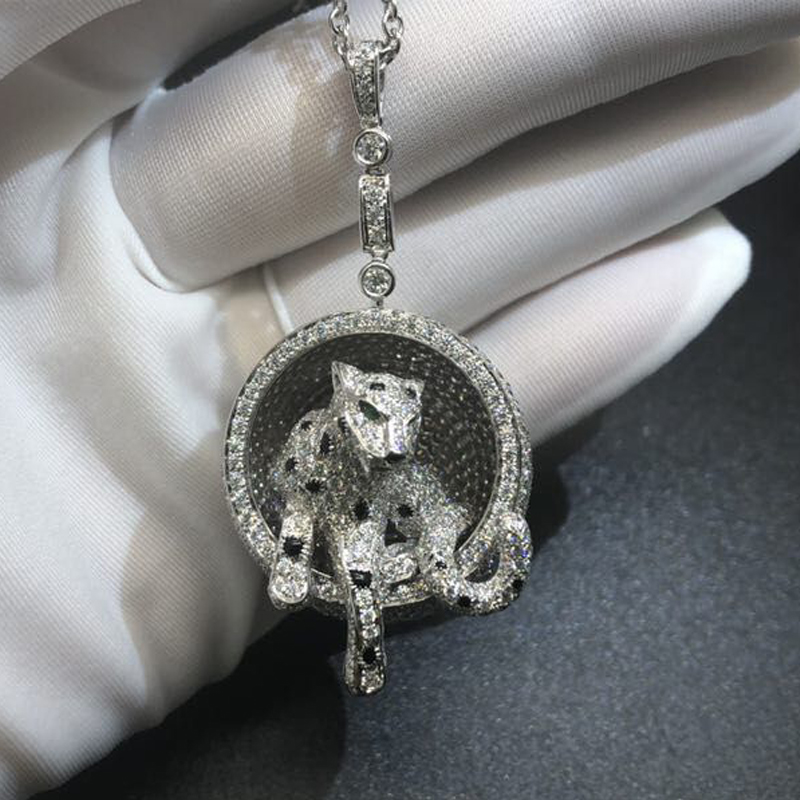 Custom Made 18k White Gold Full Diamond-paved Panthere de Cartier Necklace