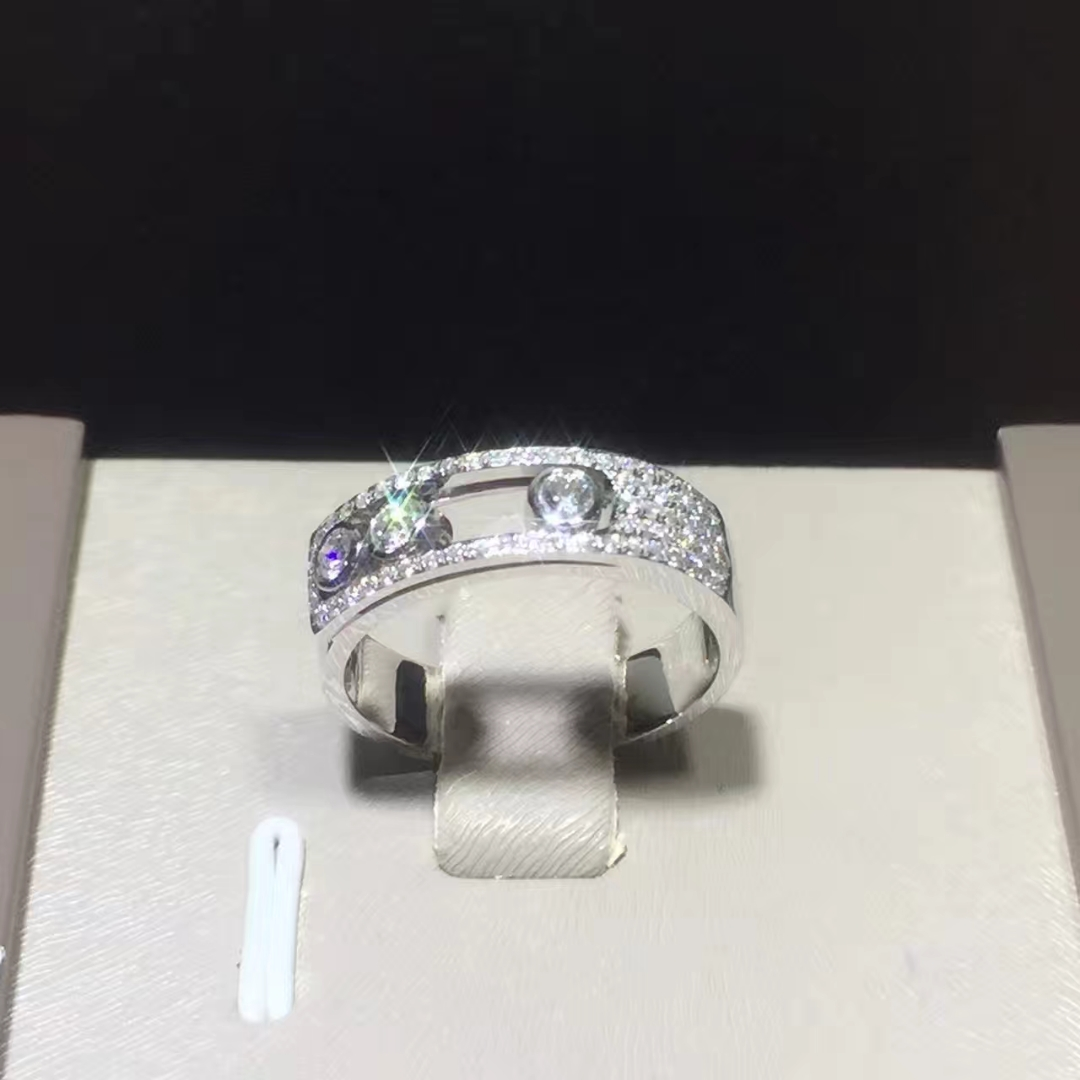 Messika 18K White Gold Move Joaillerie Pave Diamond Small Ring