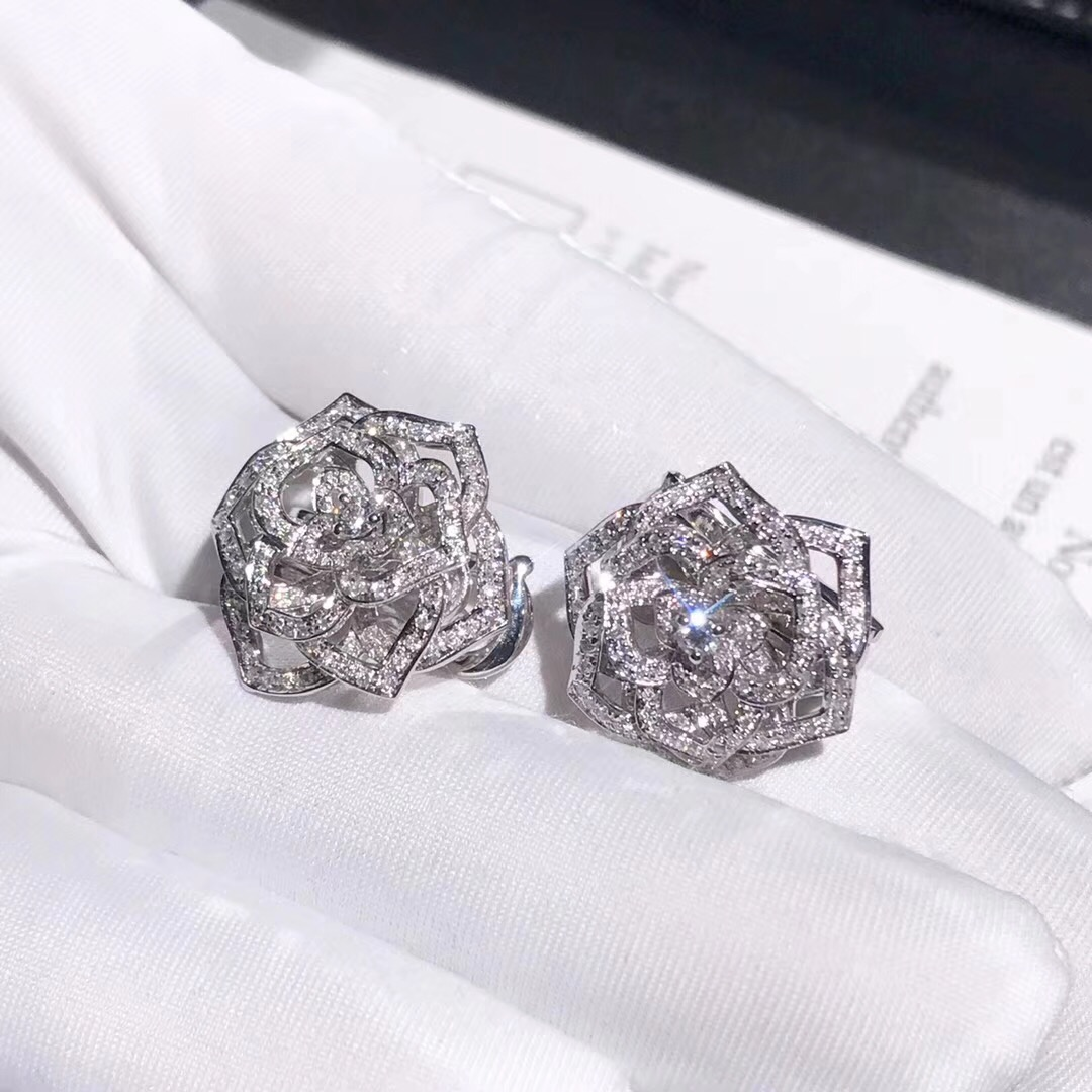Piaget Hollow-carved Rose Earrings 18k White Gold with 282 Diamond 1.48ct G38U0082
