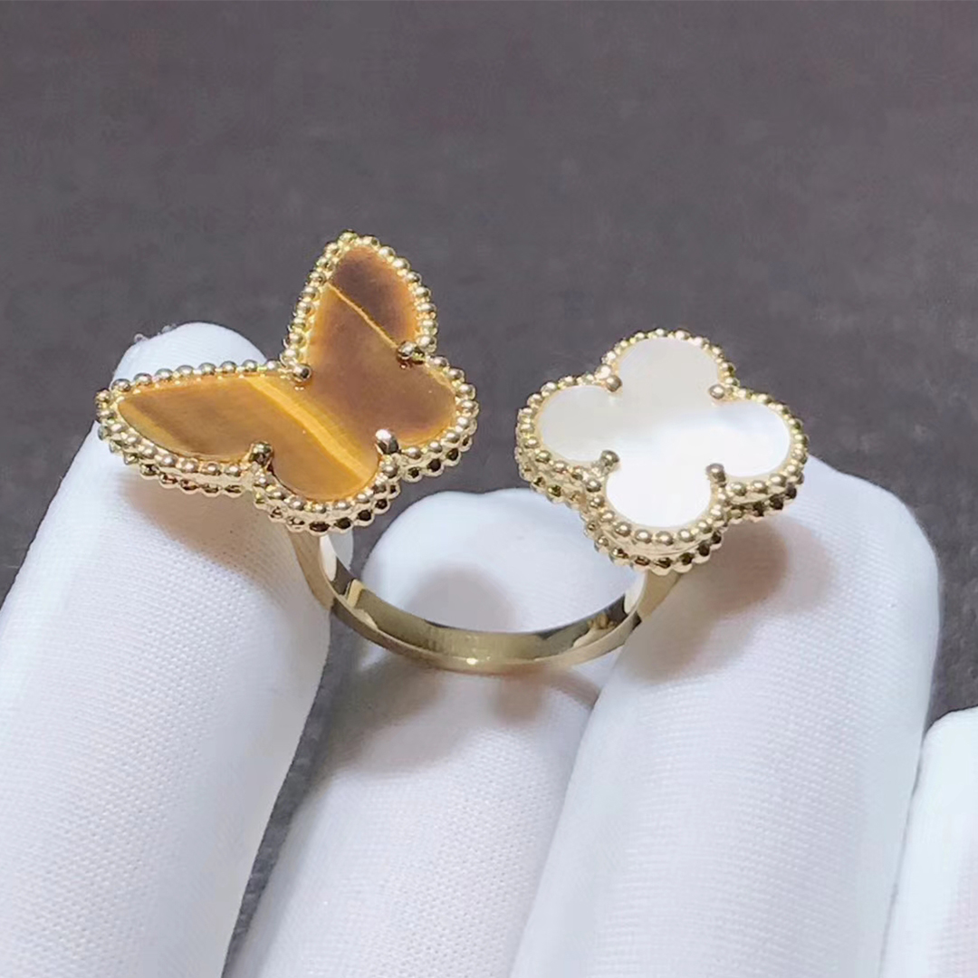 VCA 18k Yellow Gold Tiger's Eye and Mother of Pearl Lucky Alhambra Between the Finger Ring VCARN05800