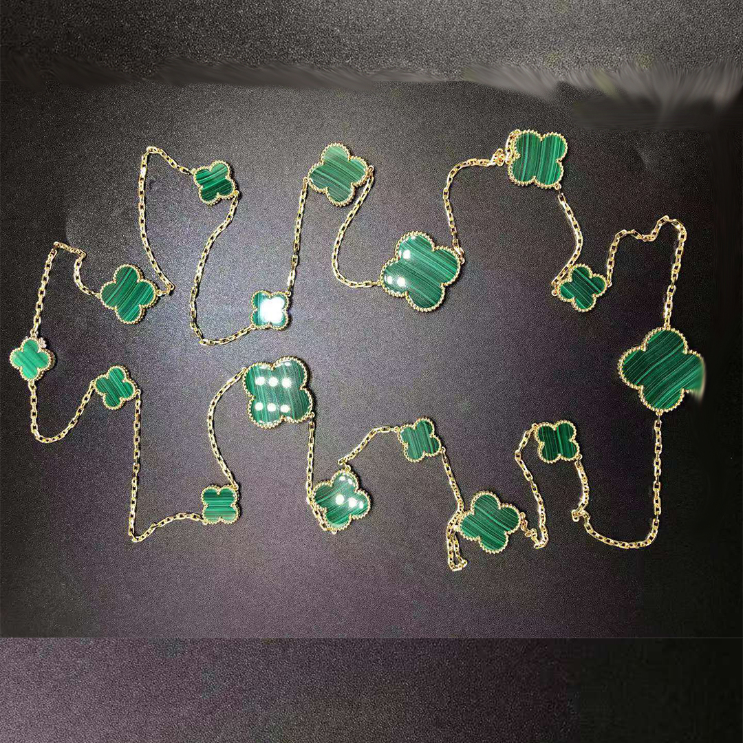 VCA Magic Alhambra 18K Yellow Gold and Malachite 16-Motif Long Necklace VCARO2AF00