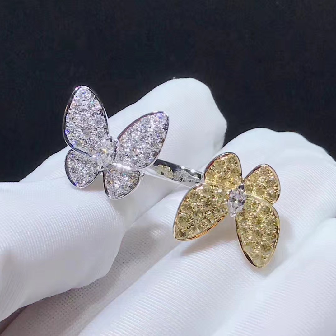 VCA Two Butterfly 18K Gold Diamond and Yellow Sapphire Between the Finger Ring VCARA13600