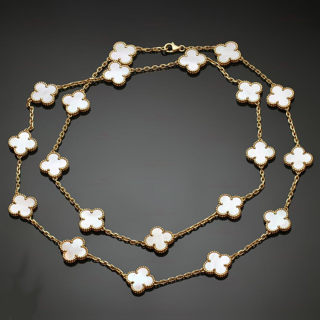VCA 18K Yellow Gold 20 Motifs White Mother of Pearl Vintage Alhambra Long Necklace VCARA42100