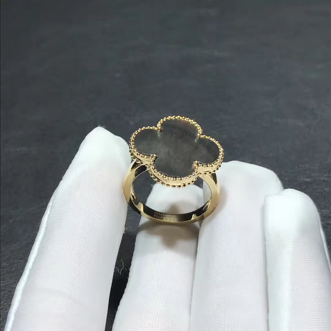 Van Cleef & Arpels 18k Yellow Gold Grey Mother of Pearl Magic Alhambra Ring