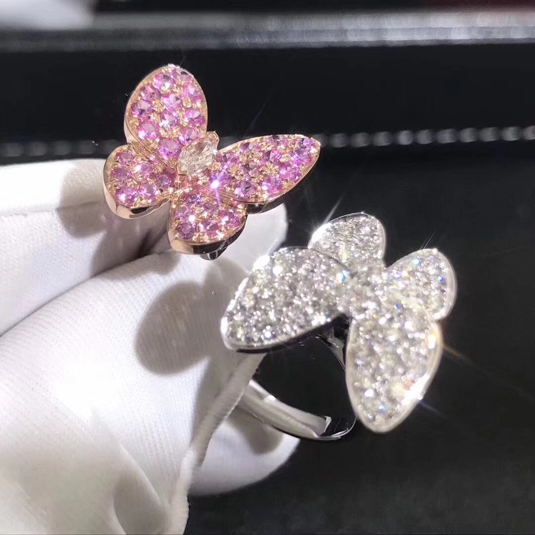 Van Cleef & Arpels Diamond and Pink Sapphire Two Butterfly Between the Finger Ring