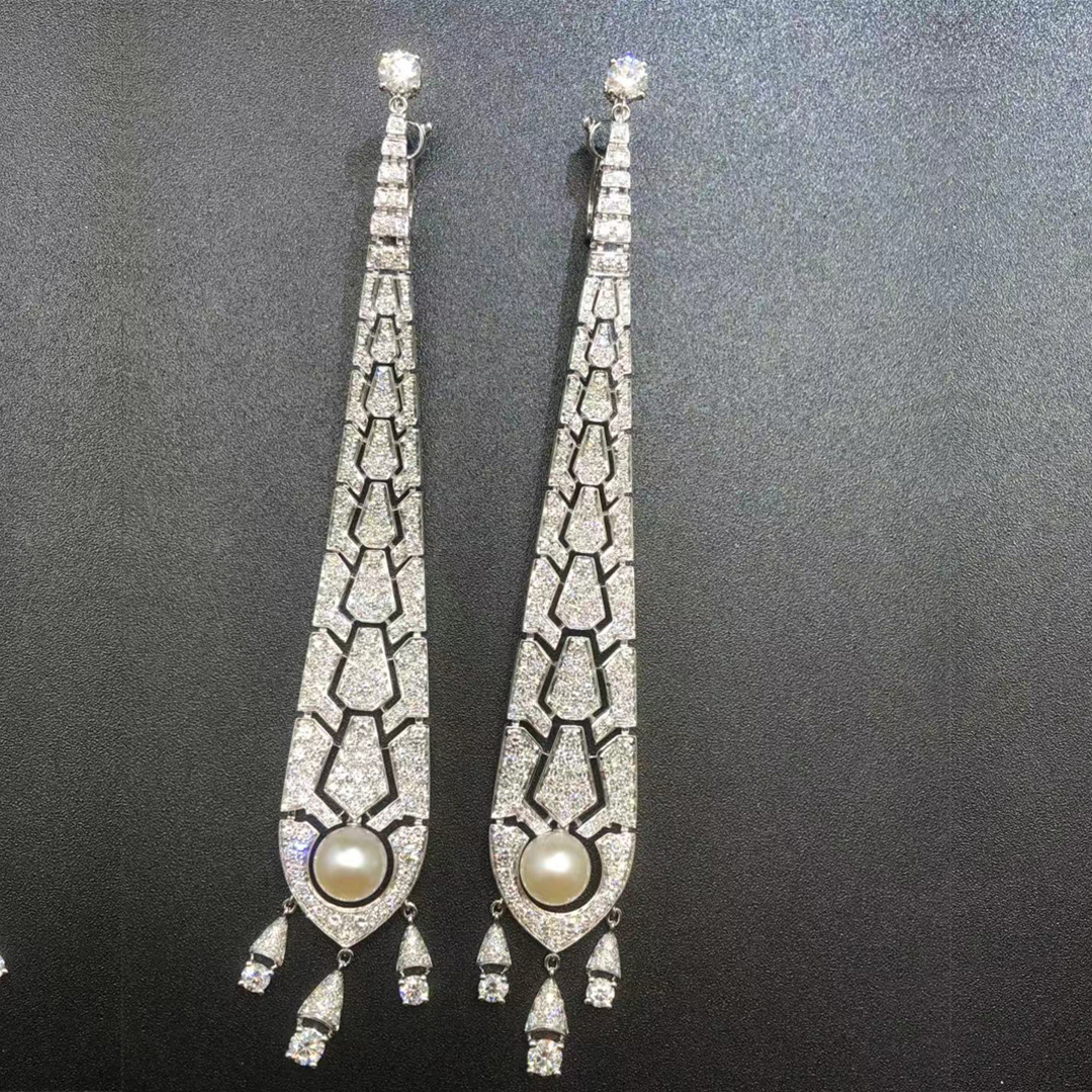 Cartier 18K White Gold Evasions Joaillieres Diamond Pave and Pearl Drop Earrings