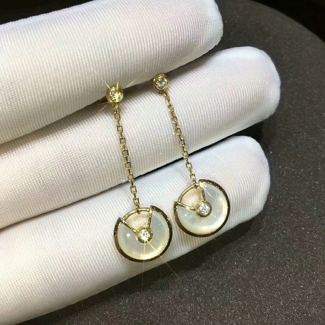 Cartier Yellow Gold Diamond and Mother of Pearl Amulette de Cartier Drop Earrings