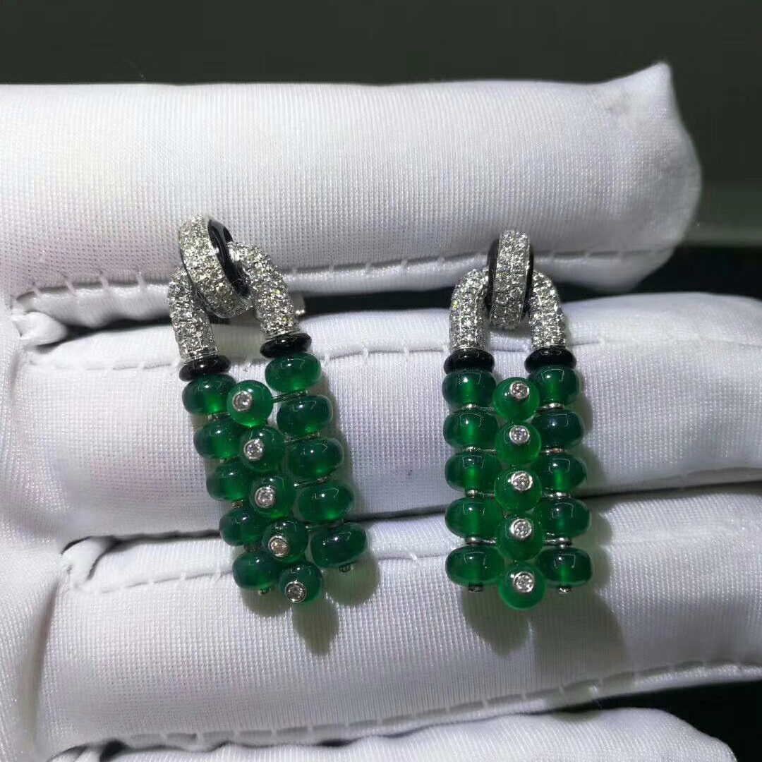 Panthere de Cartier High Jewelry Platinum Emeralds and Diamonds Earrings