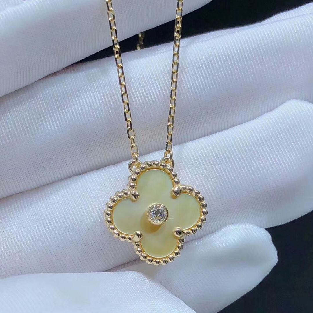 VCA 18K Gold Vintage Alhambra Gold Mother of Pearl and Diamond Pendant Necklace 2018 Christmas Limited Edition