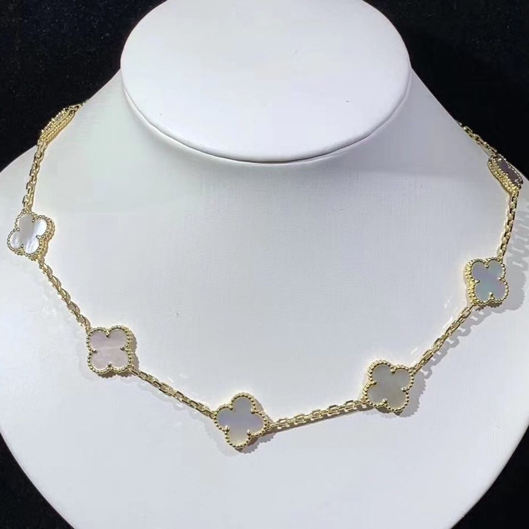 VCA Vintage Alhambra Mother of Pearl 10 Motif 18K Yellow Gold Necklace VCARA42800