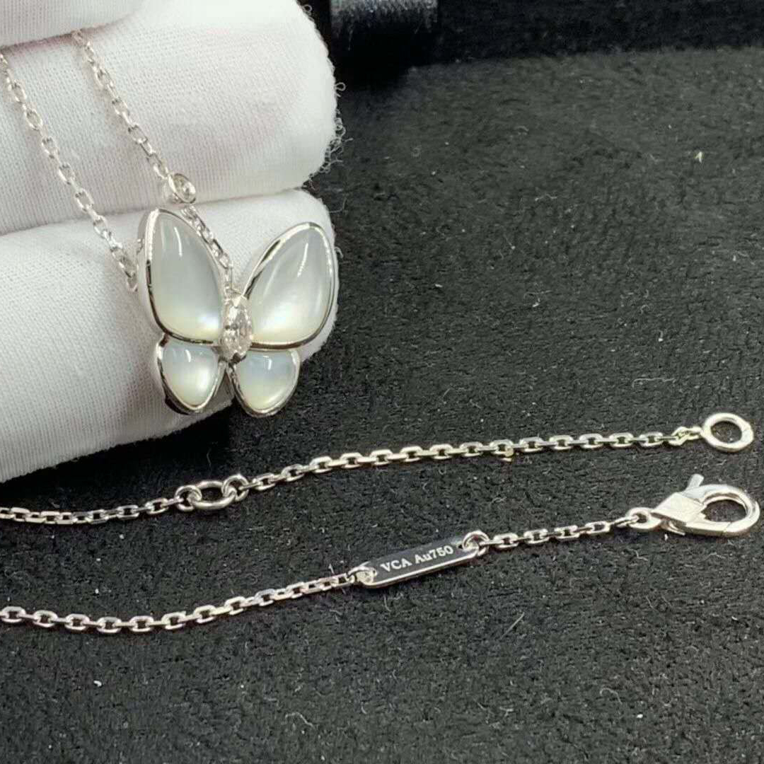 Van Cleef & Arpels 18k White Gold Mother of Pearl and Diamond Two Butterfly Pendant