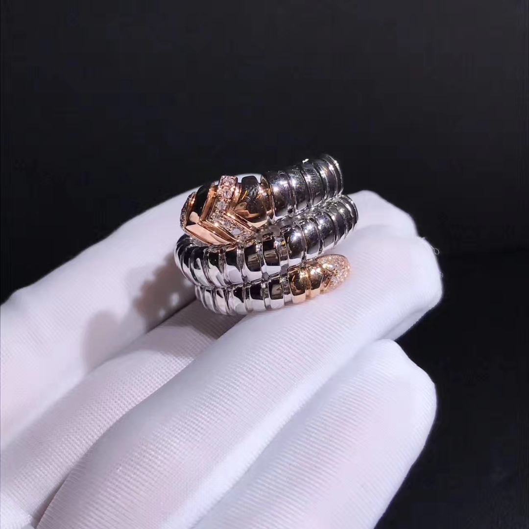 Bvlgari 18k Rose Gold and Steel Serpenti Tubogas Double Spiral Ring