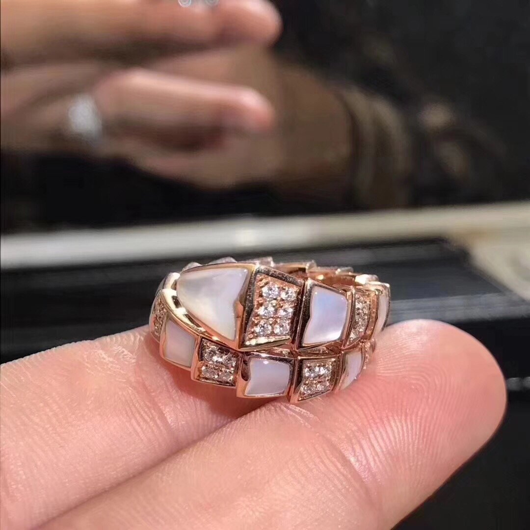 Bvlgari Rose Gold Diamond and White Mother-of-pearl Serpenti Viper One-coil Ring 350666