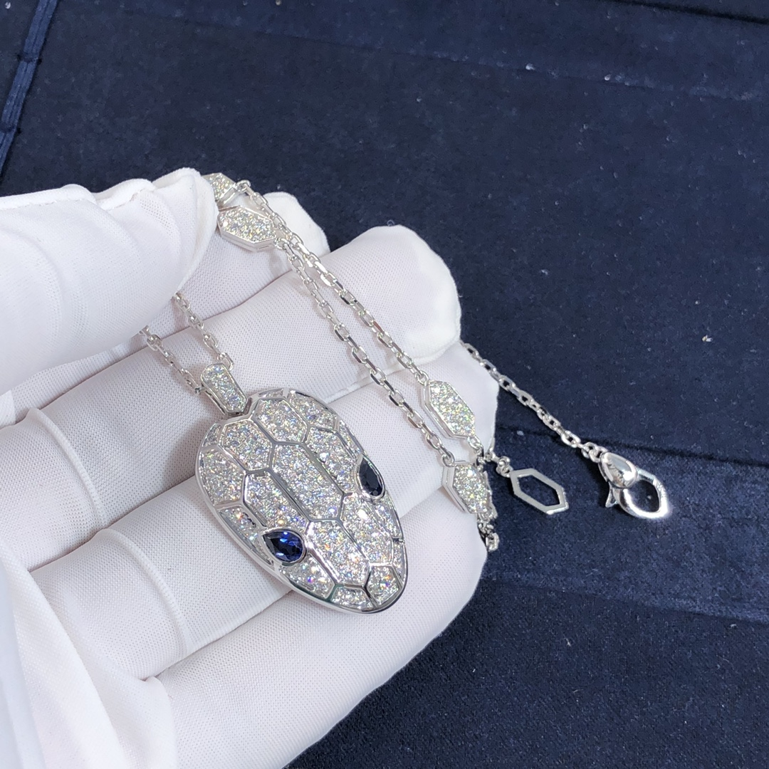 Bvlgari Serpenti Necklace18k White Gold With Blue Sapphire Eyes and Pavé Diamonds