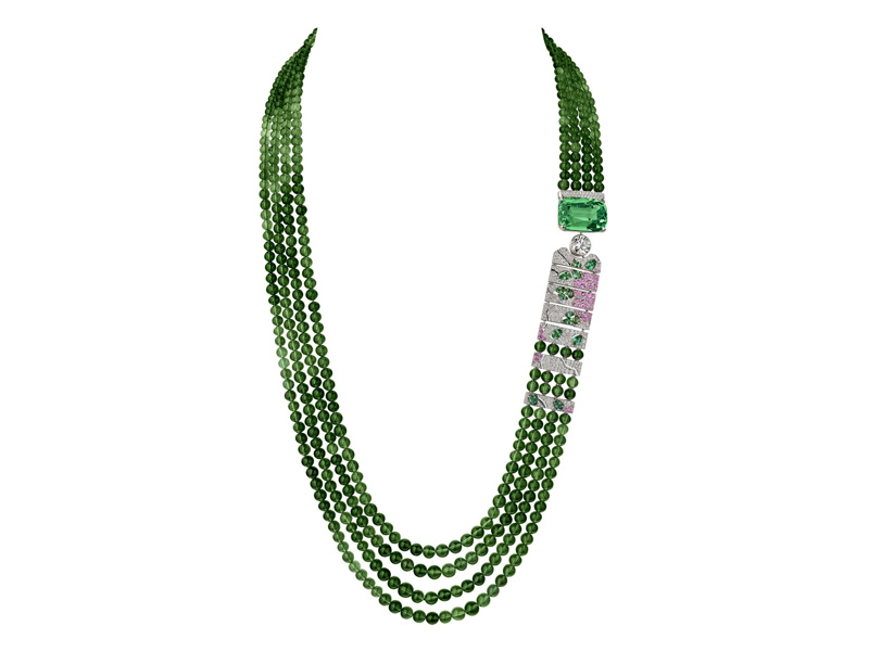 Chanel – Evocation Florale necklace mounted on white gold with green tourmalines, diamonds, pink sapphires and mint tsavorite garnet