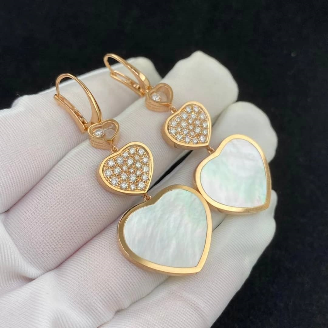 Chopard Happy Hearts 18k Rose Gold Diamond and Mother of Pearl Triple Heart Hanging Earrings