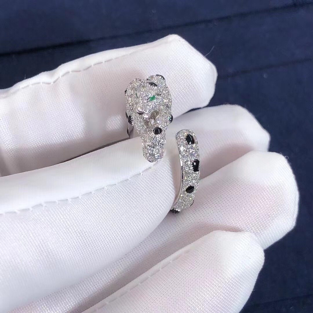 Panthère de Cartier 18K White Gold Onyx,Emeralds and Diamond-Pave Ring N4748900