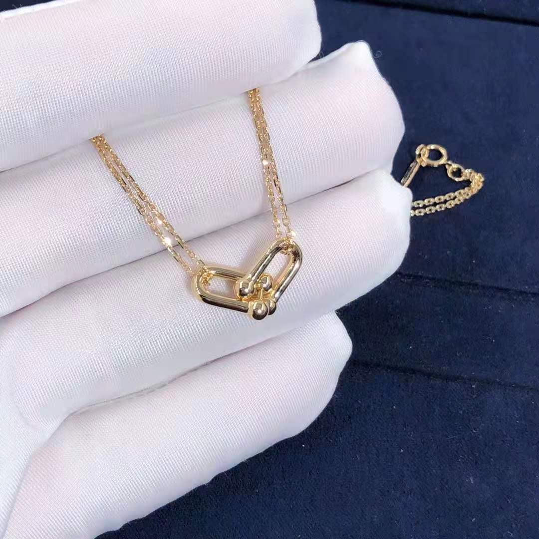 Tiffany HardWear Double Link Solid 18K Yellow Gold Pendant Necklace