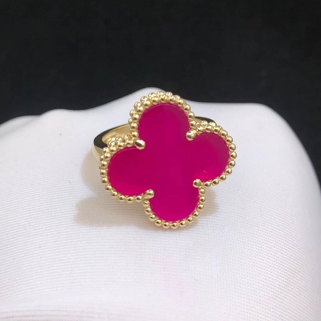 Van Cleef & Arpels Magic Alhambra Limited Edition Pink Fritillaria 18k Yellow Gold Ring