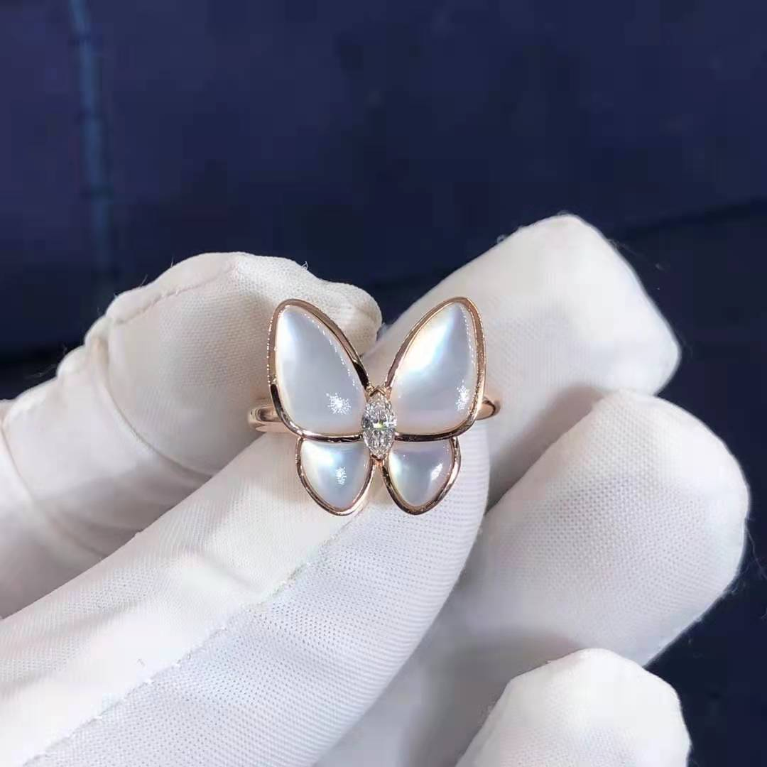 Van Cleef & Arpels Two Butterfly 18K Rose Gold Mother of Pearl Diamond Ring