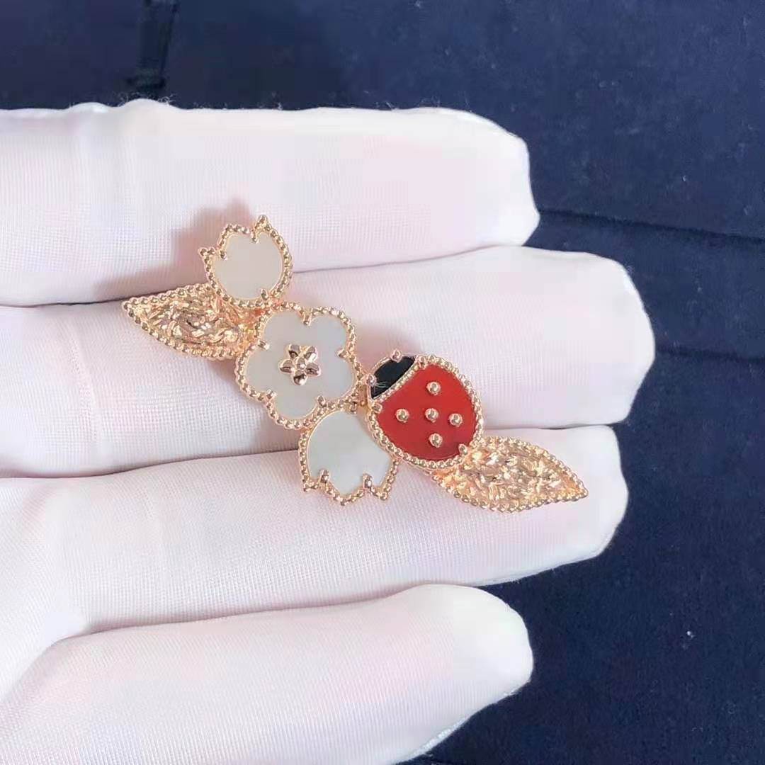 Van Cleef & Arpels 18k Rose Gold White Mother of Pearl, Carnelian and Onyx Lucky Spring Clip VCARP7RS00