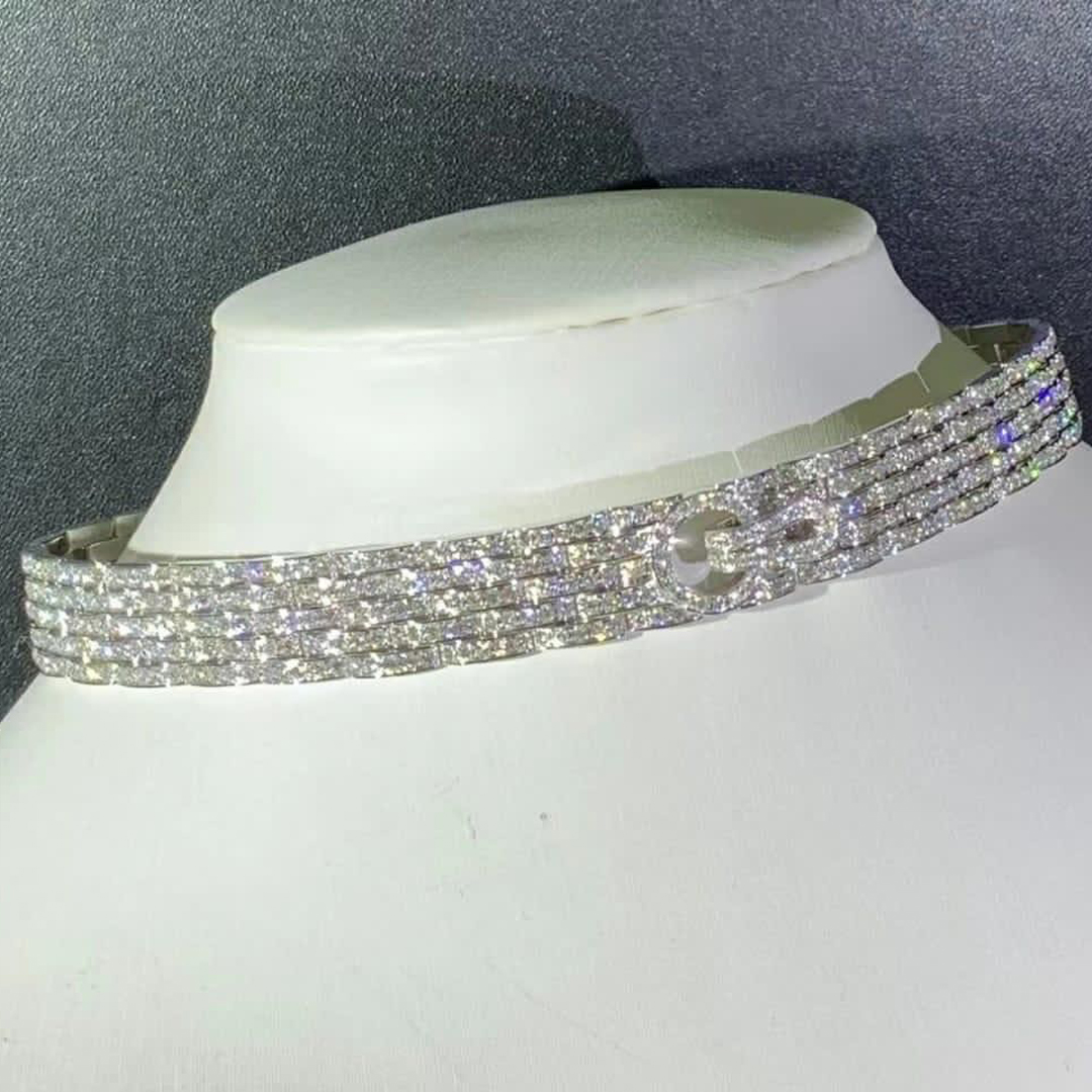 Cartier 18k White Gold 19.20ct Diamond Paved Agrafe Necklace