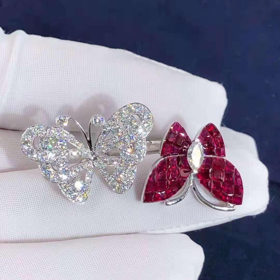 Van Cleef & Arpels 18K White Gold Flying Butterfly Between The Finger Ring with Mystery Set Rubies