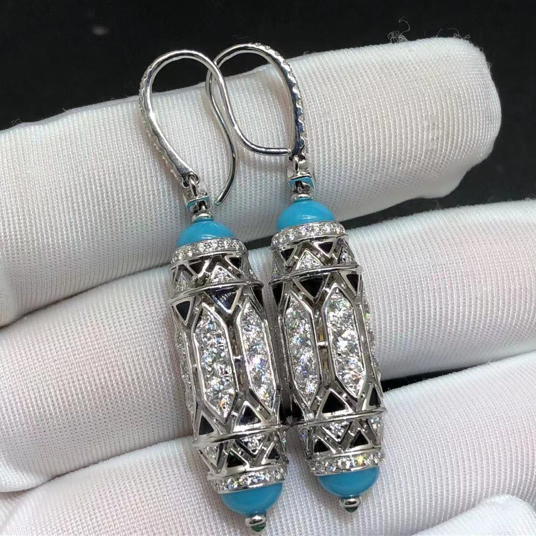 Cartier 18K White Gold Diamonds and Turquoise Art-Déco Inspired High Jewelry Earrings H8000495