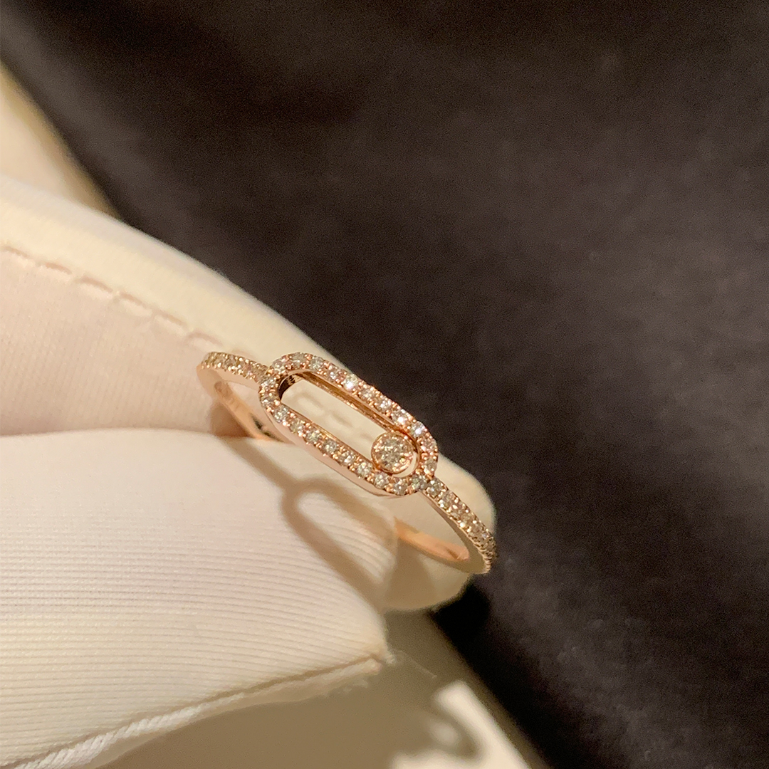 Messika 18k Pink Gold Move Uno Pave Diamond Large Model LM Ring