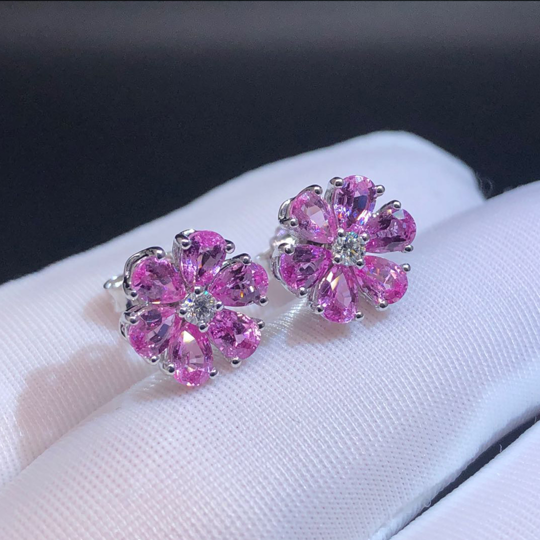 Harry Winston Platinum Pink Sapphire and Diamond Forget-Me-Not Stud Earrings